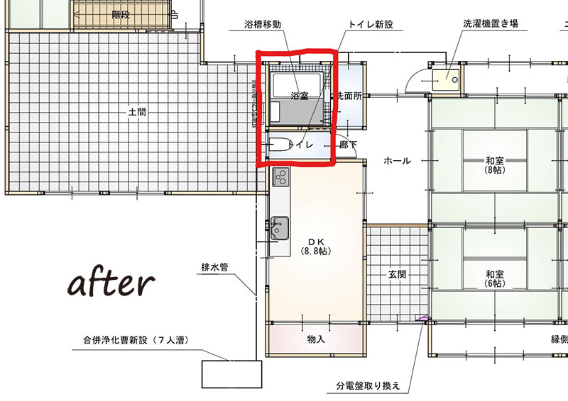 住みやすくなった古民家で迎える新しい家族施工後見取り図